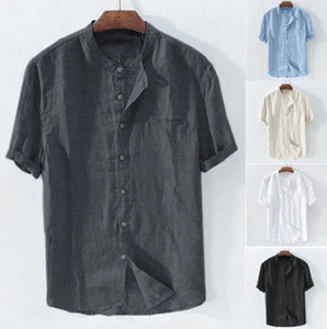 Mens Shirts Short Sleeved Loose Summer Breathable Cotton Lnen Collar Shirt Mens Beach Casual Shirt 5 Colors Plus Size Asian Size S-4XL