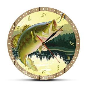 It's Fish O'Clock Fisherman Man Cave Bass Lure Full Color Print Fishing Wall Clock Modern Kitchen Watch Angling Fisherman Gift T200601