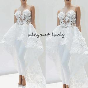 Appliques de mariée en dentelle avec train pour femmes 2019 dentelle élégante 3D floral jupe détachable robe de costume de mariage blanc