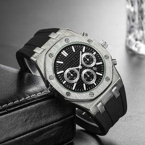 Relogio Masculino 43mm Militär Sport Style Royal Oak Männer Uhren Modedesigner Zifferblatt schwarz Einzigartige Silikon Big Male Uhr Watche DZ