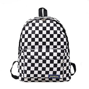 2019 핫 세일 여성 남성 Unisex 격자 배낭 새로운 트렌드 체커 보드 청소년 학교 가방 커플 백 팩 여행 가방 Y19051502