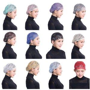 Perda mulheres Lady Lace muçulmana Ruffle Cancer Chemo Hat Beanie Elastic Scarf Turban Envoltório principal Cap Lace Bonnet Lenço Cabelo Hat Nova