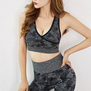 Sports Bra Corte Superior para as Mulheres Racerback Fio livre Pads Insere Yoga Bra Gym Seamless High Impact Sports Shakeproof Top