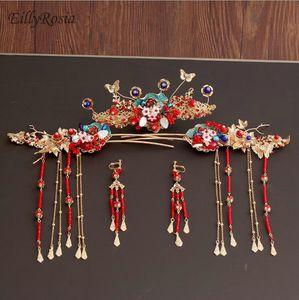Vintage oro rojo estilo chino antiguo conjunto de joyas de pelo perlas borla palos de pelo novia boda largos pendientes de gota palos de pelo