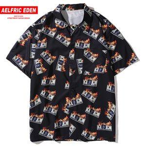 Aelfric Éden Hawaii praia camiseta Men Oversized fogo Dinheiro Impresso meia manga Moda Streetwear shirt fraco Hip Hop Tops Tees