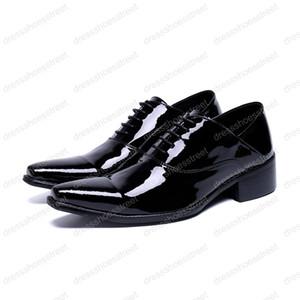 Homme en cuir véritable bout pointu mode chaussures habillées formelles Performance de mariage style britannique noir chaussures classiques