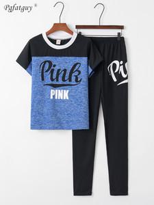 Nuovo arrivo autunno donne lettera stampata 2 pezzi Set Color-Block Tops caviglia lunghezza pantaloni pantaloni Donne Tute Casual Outfiits