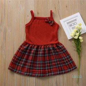 아기 소녀 드레스 점프 슈트 여름 소녀 민소매 스트랩 활 패치 워크 단색 무늬 어린이 키즈 스커트 도매 CZ423
