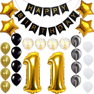Balloons of Happy Birthday Banner for Sweet 11 Years Old Birthday Party Decoration Supplies Gold Black
