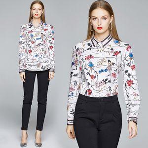 High-end Girl Shirt Printed Long Sleeve Lady Tops OL Spring Autumn Blouse Fashion Elegant Women Shirt