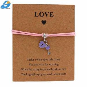 DGW Love Lock Shamrock Подвески Браслеты Регулируемое Knot ювелирные изделия ручной работы Женщины Мужчины Любителя Дружба Rope Chain Metal Lobster
