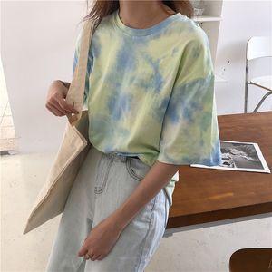 Cbafu Kravat Boya T Gömlek Kadınlar Yaz Üst Kore Giysi Rahat Gevşek Tee Gömlek Femme Ulzang Tops Baskı Patchwork Tshirt D559 Y19072701