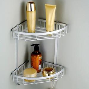 Prateleiras de alumínio Canto do banheiro prateleira Duplo Tiers Triângulo Duche Basket Shampoo Soap Cosmetic armazenamento Rack Banho Organizer