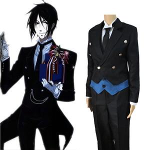 2019 Anime Black Butler Sebastian Michaelis Cosplay Uniforme noir Outfit Halloween Costumes pour Femmes Hommes Carnaval Disfraces