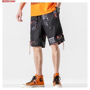 Shorts masculinos caem homens verão impresso homens oversize streetwear coreano moletom solto masculino moda roupas casuais 2021