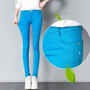 FSDKFAA donne pantaloni jeans caramella 2018 Primavera Autunno pantaloni della matita casuale sottile femminile elasticizzato pantaloni bianchi Jeans pantalones mujer