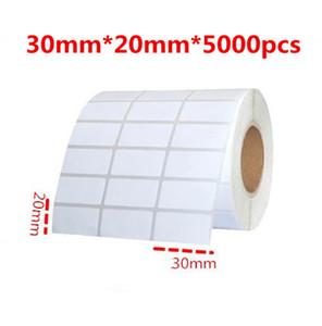 30 * 20 mm 5000pcs / blanc rouleau ou au bureau de la livraison gratuite écologique simple enduit code à barres papier pour étiquettes autocollant auto-adhésif pour imprimante