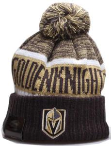 NEW Полосатого побочной дизайн Vegas Golden Knights Beanie Спорт наручники Knit Hat Шерсти Bonnet Теплых Дешевых Шапочек Вязаная Череп Cap для мужчин женщин