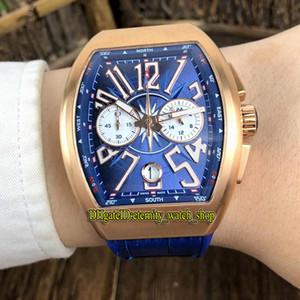 COLEÇÃO DOS HOMENS VANGUARD V 45 CC DT IATE Azul Dial couro Japão VK Quartz Chronograph Movimento Mens Watch Rubber Strap Desporto Relógios