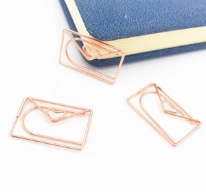 Rose Gold Amore Graffetta speciale creativo a forma di modellazione della clip clip metalliche graffetta di carta segnalibro del metallo