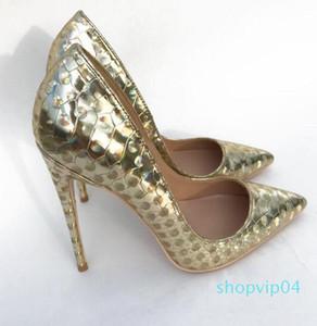 Новый золотой фантазия Llaser круг красный низ туфли на высоком каблуке женщины тонкий каблук острым носом платье мелкая обувь большой размер 44 c20