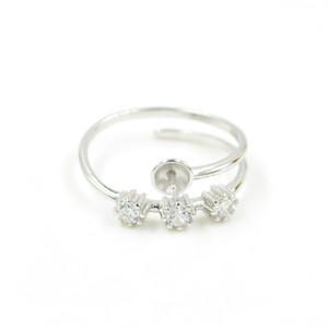 CR Jewelry два слоя стерлингового серебра 925 Цирконий CZ 3 Камень Обручальное кольцо креплениями Регулируемые параметры Бесплатная доставка PS4MJZ055