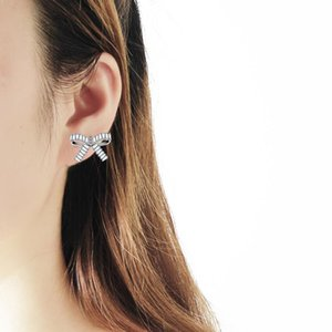 Fashion Platinum Plated Stud Earrings Cute Bowknot Tie Copper Crystal Earrings For Women Girls Gifts Party Jewelry