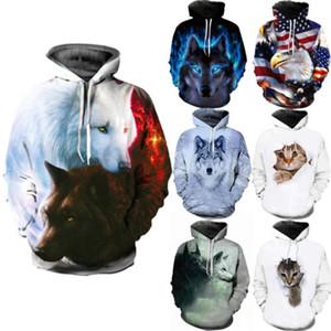 Homens Moda Hoodies 3D Lobo animal da cópia Moletom Bordado Top Aqueça Casual camisola do Hoodie Outono Inverno Men Outwear Tamanho S-3XL