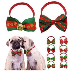 Cão de natal Gato Laços Laços Xmas Pets Presente Animais de estimação Collar Holiday Wedding Decoration Dog Grooming Acessórios