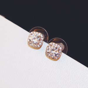 Korean luxury exquisite wild diamond earrings fashion classic S925 silver needle high-end earrings leisure holiday holiday gift jewelry