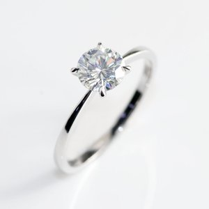 10k or blanc Head or rose Bnad 2CT 8 mm Brillant Cut GH couleur Moissanite 4 Prongs Solitaire mariage Proposition Anneau