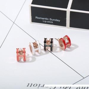 Luxury H Earrings with enamel H words for women stud punk Women's 316L Titanium steel earring jewelry with original Velvet bag