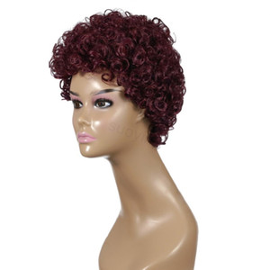 Hot sales 2020 short curly burgandy colored shiny synthetic wig with fiber hair wig no lace