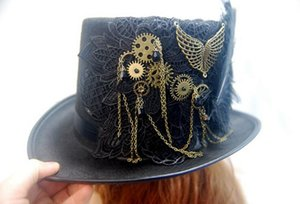 Handmade Steampunk Retro Vintage Top Hat Gothic Wool Hats With feather Gears Lace Wings Chain Party Accessories