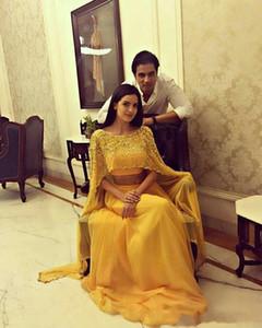 2020 nouveau jaune sexy robe de bal de Dubaï deux pièces Scoop perlé avec de longues enveloppes en mousseline de soie, plus la taille arabe robes de soirée de bal marocain caftan