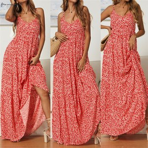 Women Bohemian Dresses Boho Beach Summer Floral Maxi Dress Elegant Sleeveless Holiday Vacation Sundress Summer Evening Party Flower