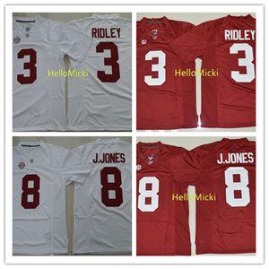 Mens NCAA Alabama Crimson Tide # 3 Calvi Ridley футбольные трикотажные изделия сшитые # 11 Juloio Jones Jerseys
