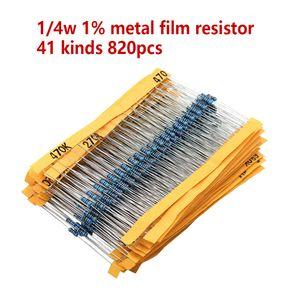 8 20 pçs / set 40 Tipos de 1 / 4W Resistência 1% Kit Resistor de Filme de Metal Kit Sortido 1 K 10 K 100 K 220ohm 1 M resistores