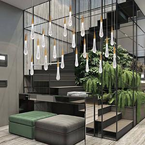 Minimalista loft de cristal pingente de LED luz gota de água escandinavo de metal lâmpada pendurada arte nórdica e leve restaurante criativo
