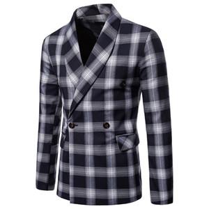 2019 New Mens Paild Blazers 3 Colors England Style Slim Fit Lapel Neck Casual Suit Tops Plus Size M - 4XL