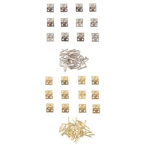 24Pcs Small Mini Metal Hinges Jewellery Box Dollhouse Hinge with Screws 8x10mm Golden Silver Color