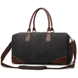 Canvas Leather Tote Overnight Duffel Shoe Large Carry Pouch On Bag Male Travel Men Women Weekend Ugdud Fsdvn