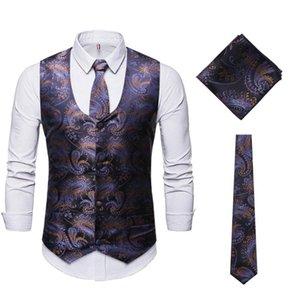 Men's Purple Paisley Dress Vest Necktie Pocket Square Set 2020 Fashion Classic Party Wedding Tuxedo Vests Waistcoat Men Gilet
