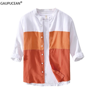 100% Linen Cool Breathable Anti-static Anti-radiation Quality Fashion Man Shirt Summer Male Patchwork Three Quarter Men Shirts
