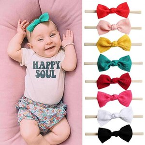 Baby Girls Hair Band 20 Colors 3.5 Inch Bow Nylon Headband Kids Boutique Solid Color Elastic Hairband Infant Toddler Baby Accessories