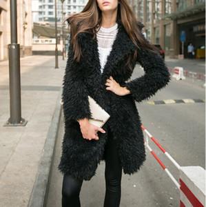 Zuolunouba Frauk 2019 Mode-Herbst-Winter Mäntel Jacken Harajuku black Cashmere lange Mantel-Strickjacke Weiblich
