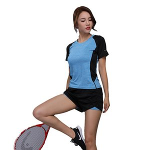 Women Yoga sets Quick Dry Double Layer Shorts +Running clothes Short Sleeve Shirt Outdoor Sports Fitness Gym Tennis suit W101-5