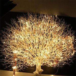 10X2M 200 LED Copper wire Fairy String Lights LED Vines Branch lights for Christmas Tree Party Decor with DC 12V 2A Adapter Y200603