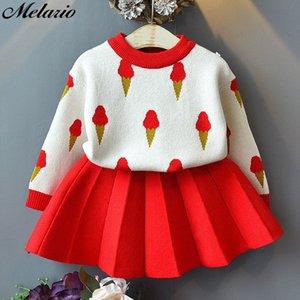 Melario Bahar Çocuk Giyim Bebek Kız Çocuk Giyim T200707 Suits 2adet Dondurma Örme Kazak Süveter Pileli Etek Suit ayarlar