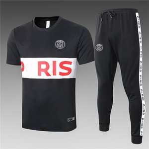 2020-2021 Париж мужских спортивной одежды TracksuitsParis костюм футбол спортивной костюм куртка 1920 21 футбола обучения костюма с коротким рукавом Спортивных костюмов